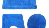 комплект за баня 3 части: правоъгълно килимче 55/90см. - 1 бр.; U - образно килимче 55/44см. -1бр. и стандартно килимче със шнур за капак на тоалетна чиния;